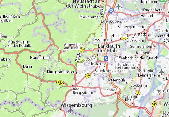 Kaart van Ilbesheim bei Landau in der Pfalz plattegrond van