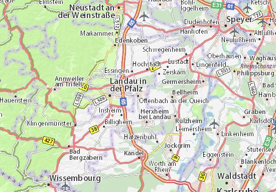 Karte Stadtplan Offenbach an der Queich