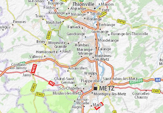 Kaart Plattegrond Marange-Silvange