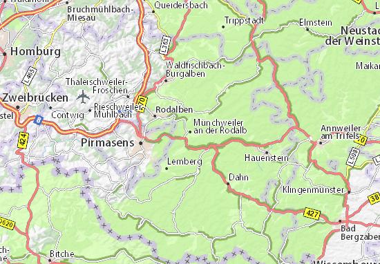 Karte Stadtplan Münchweiler an der Rodalb