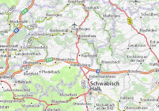 Karte Stadtplan Kupferzell