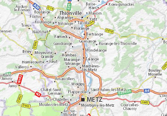 Carte d taill e talange plan talange viamichelin - Garage route de thionville metz ...