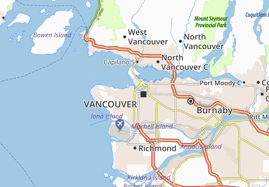 Detailed map of Vancouver - Vancouver map - ViaMichelin