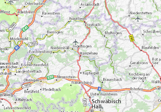 Karte Stadtplan Künzelsau