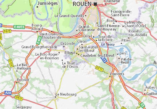 Karte Stadtplan Caudebec-lès-Elbeuf