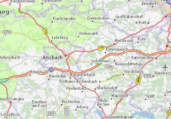 Kaart Plattegrond Sachsen bei Ansbach