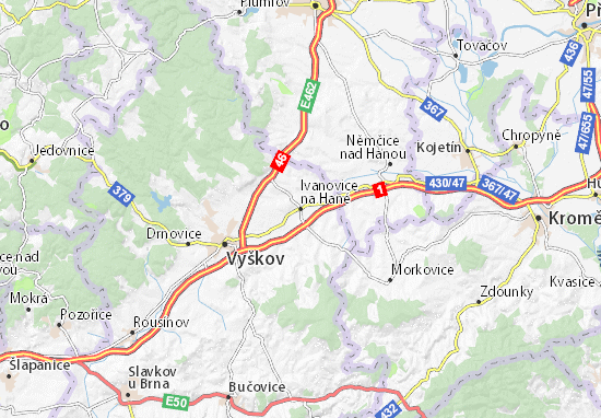 Carte-Plan Ivanovice na Hané