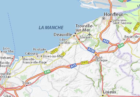 Carte détaillée Vauville - plan Vauville - ViaMichelin