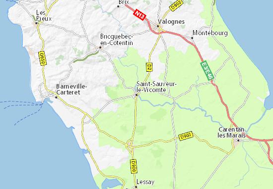 Kaart Plattegrond Saint-Sauveur-le-Vicomte