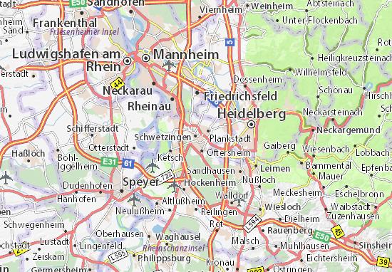 Karte Stadtplan Schwetzingen