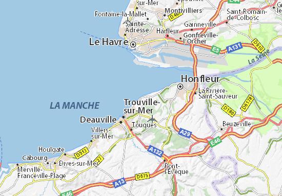 Carte d taill e villerville plan villerville viamichelin - Office du tourisme deauville trouville ...