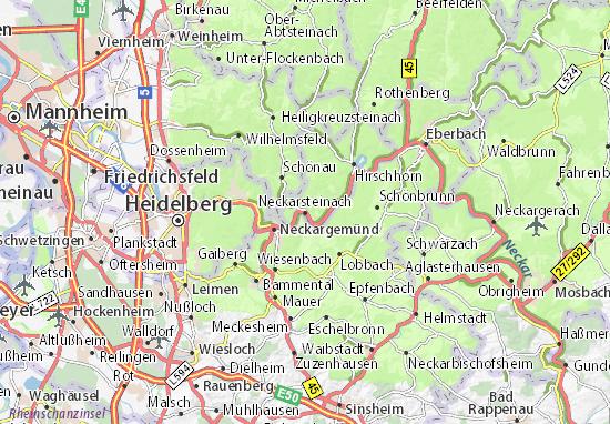 Kaart Plattegrond Neckarsteinach