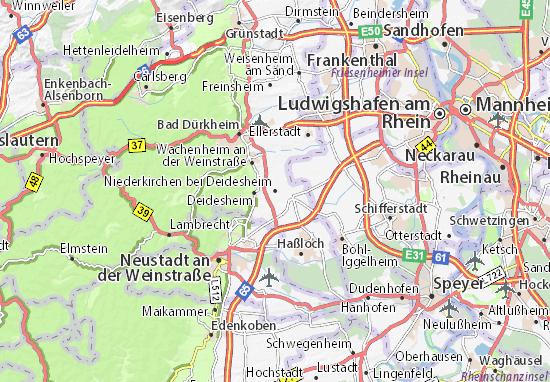 Karte Stadtplan Niederkirchen bei Deidesheim