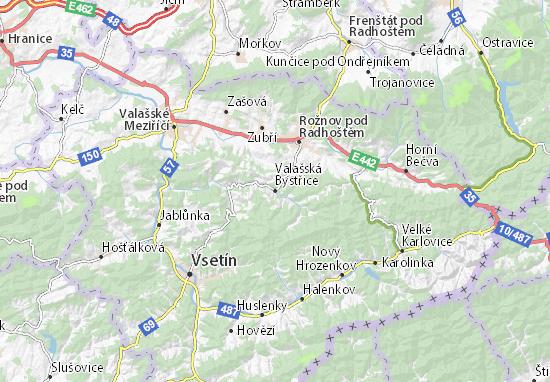 Mapa Plano Valašská Bystřice