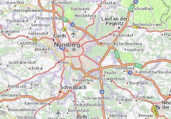 Karte stadtplan n rnberg s d stliche au enstadt viamichelin - Mobelhauser nurnberg und umgebung ...