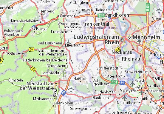 Karte Stadtplan Rödersheim-Gronau