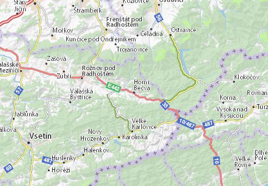 Mapa Plano Horní Bečva