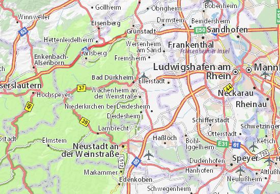 Carte-Plan Wachenheim an der Weinstraße