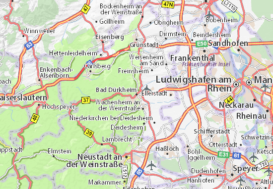 Karte Stadtplan Bad Dürkheim