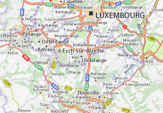Karte Stadtplan Dudelange