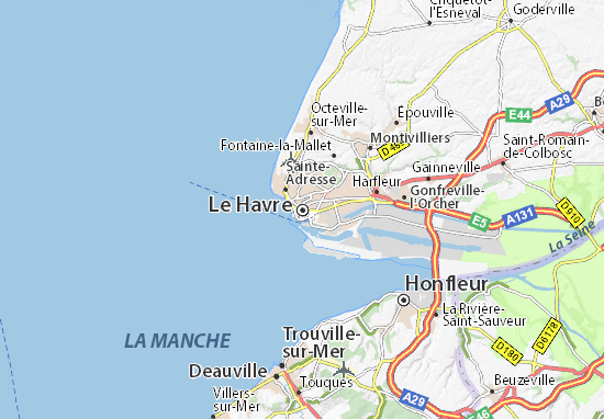 Map of Le Havre - Michelin Le Havre map - ViaMichelin