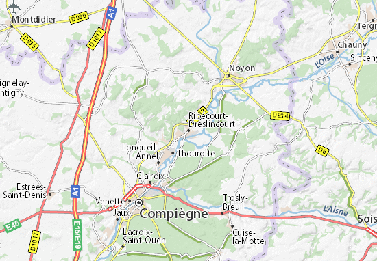 Kaart Plattegrond Ribécourt-Dreslincourt