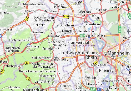 Karte Stadtplan Weisenheim am Sand