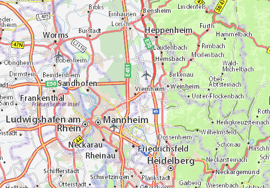 Map Of Viernheim Germany.Map Of Viernheim Michelin Viernheim Map Viamichelin