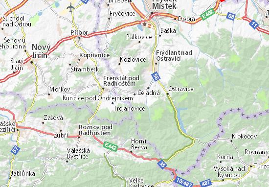 Kaart Plattegrond Kunčice pod Ondřejníkem
