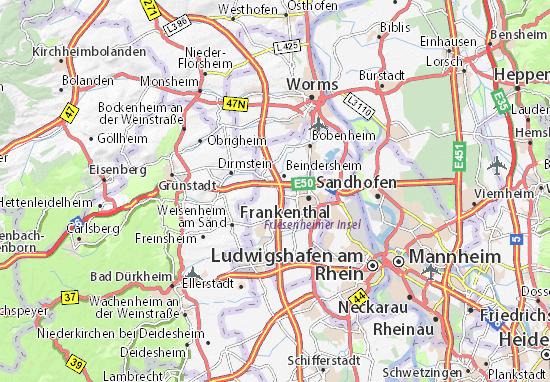 Karte Stadtplan Heßheim