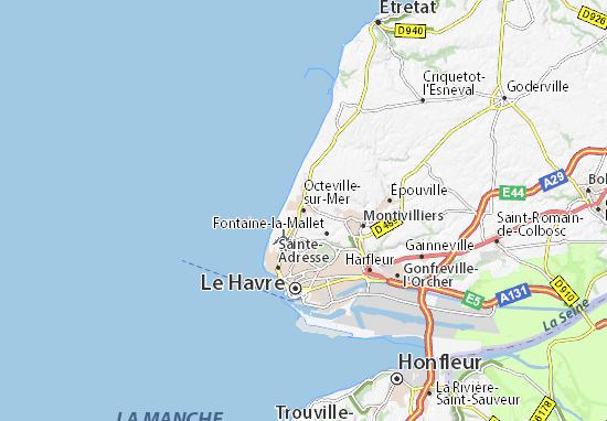 Karte Stadtplan Octeville-sur-Mer