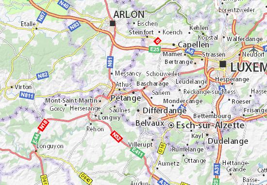Karte Stadtplan Pétange