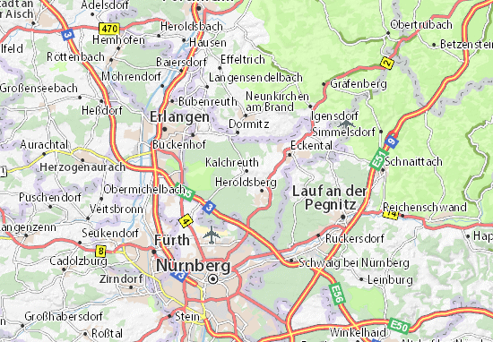 Map Of Zirndorf Germany.Map Of Kalchreuth Michelin Kalchreuth Map Viamichelin