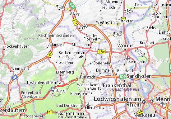 Karte Stadtplan Bockenheim an der Weinstraße
