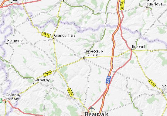 Kaart Plattegrond Crèvecœur-le-Grand