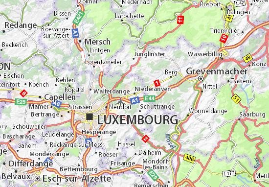 Karte Stadtplan Niederanven