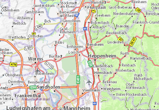 Map Of Viernheim Germany.Lorsch Map Detailed Maps For The City Of Lorsch Viamichelin