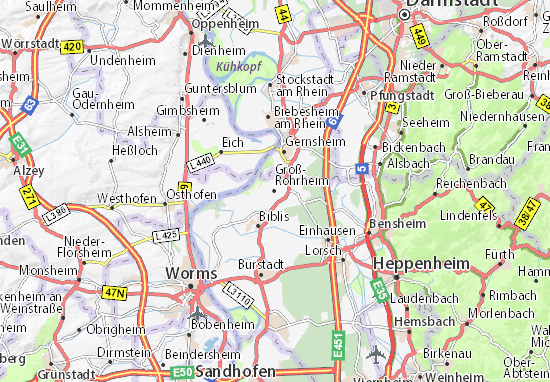 Karte Stadtplan Groß-Rohrheim