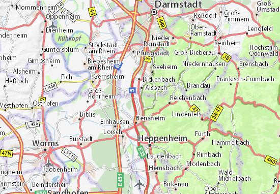 Map Zwingenberg Germany.Map Of Zwingenberg Michelin Zwingenberg Map Viamichelin