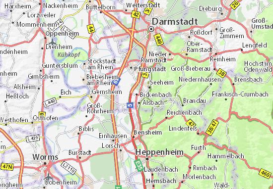 Karte Stadtplan Bickenbach