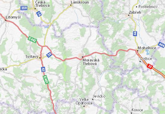 Kaart Plattegrond Moravská Třebová