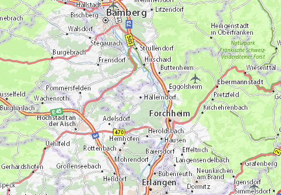 Oberfranken Karte.Karte Stadtplan Hallerndorf Viamichelin