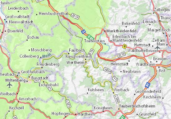 Karte Stadtplan Kreuzwertheim