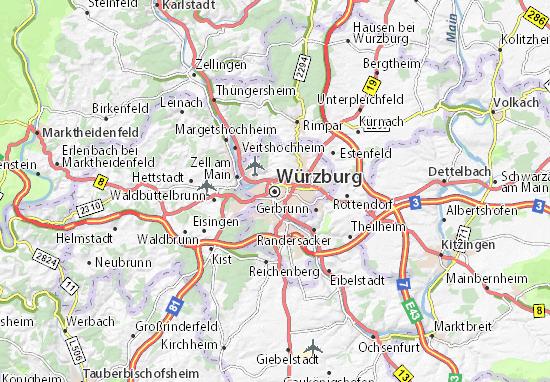 Karte Würzburg Und Umgebung.Karte Stadtplan Würzburg Viamichelin