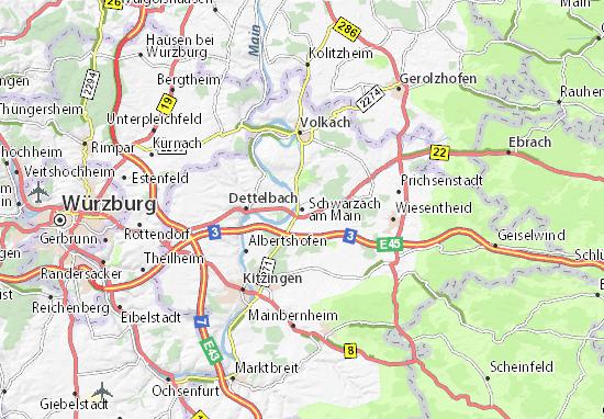Karte Stadtplan Schwarzach am Main