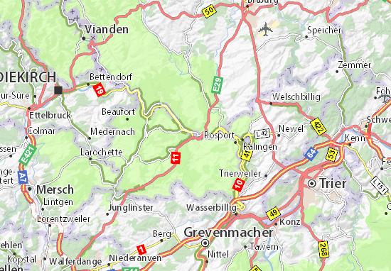 Karte Stadtplan Echternach
