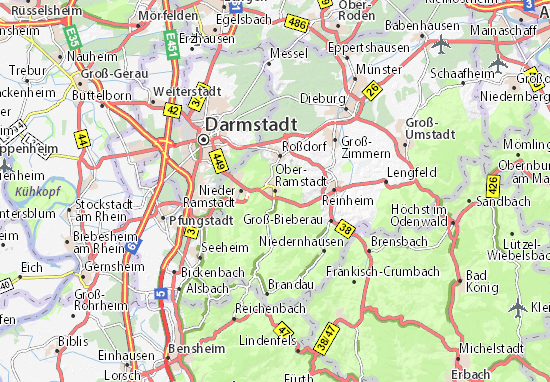 Karte Stadtplan Ober-Ramstadt