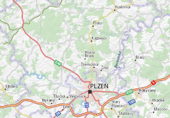 Carte-Plan Horní Bříza