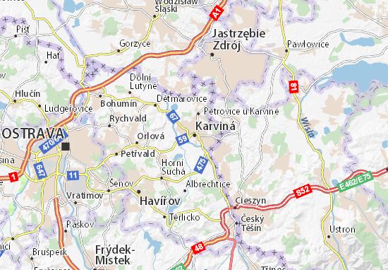 Karte Stadtplan Karviná