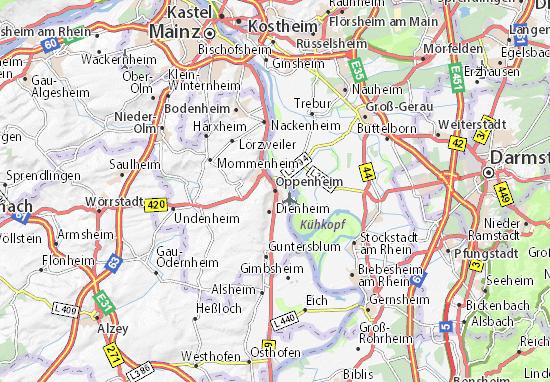 Karte Stadtplan Oppenheim
